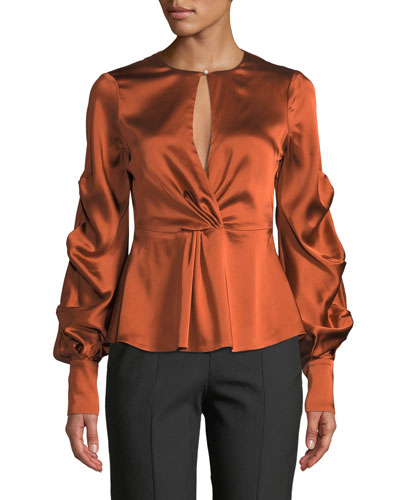 Fluid Gathered-Sleeve Satin Keyhole Top