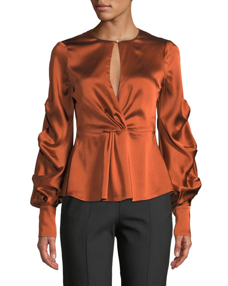 Jonathan Simkhai Fluid Gathered-Sleeve Satin Keyhole Top