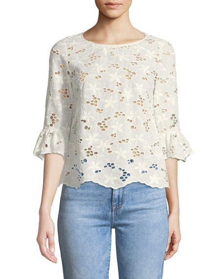 Adriana Floral Eyelet Button-Back Top