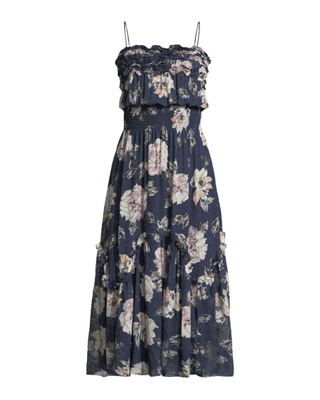 Silk Magnolia-Print Ruffle Midi Dress