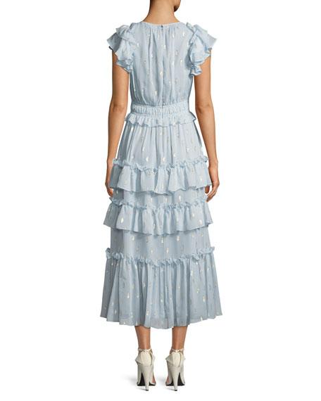 Metallic Clip Silk Ruffle Midi Dress