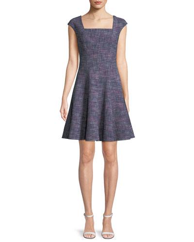 Cap-Sleeve Tweed Knee-Length Dress