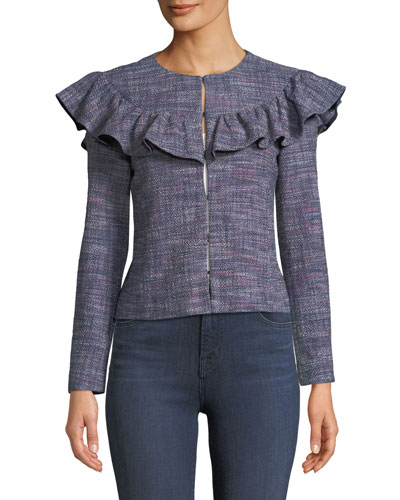 Tweed Long-Sleeve Ruffle Jacket