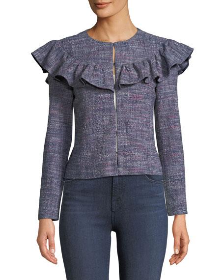 Tweed Long-Sleeve Ruffle Jacket
