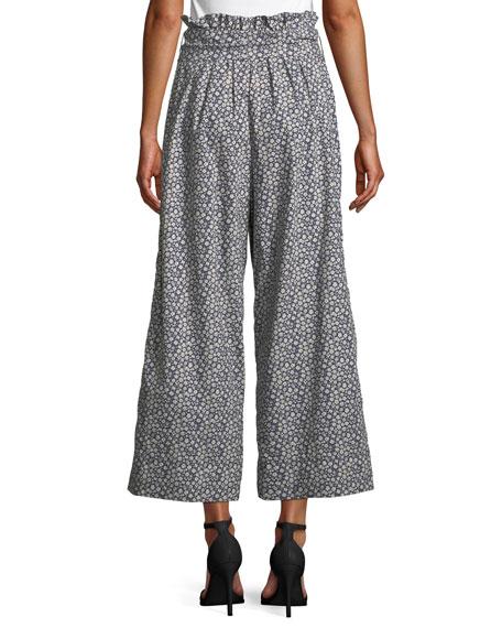 Lauren Tie-Front Floral Wide-Leg Pants