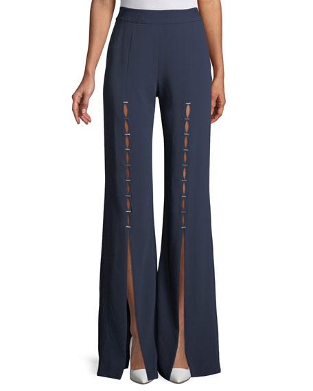 Stapled Crepe Front-Split Pants