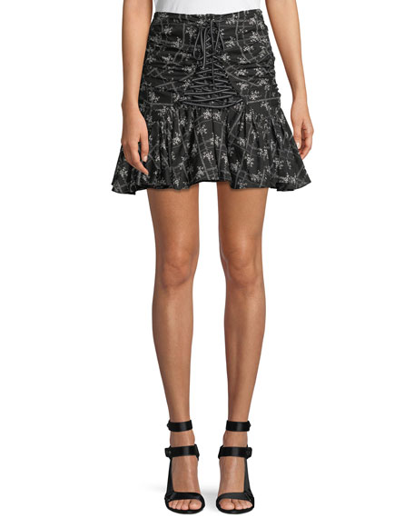 cinq a sept Amelia Ruched Floral Lace-Up Miniskirt