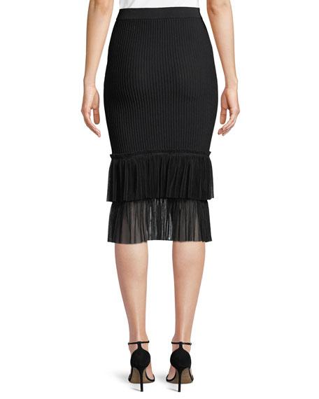 Ribbed Ottoman Tulle Pencil Midi Skirt