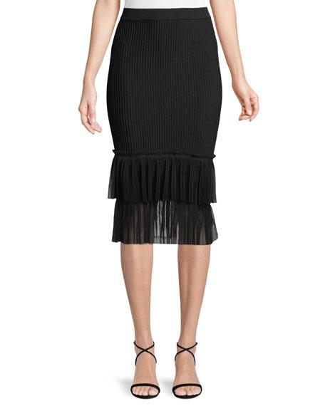 Jonathan Simkhai Ribbed Ottoman Tulle Pencil Midi Skirt