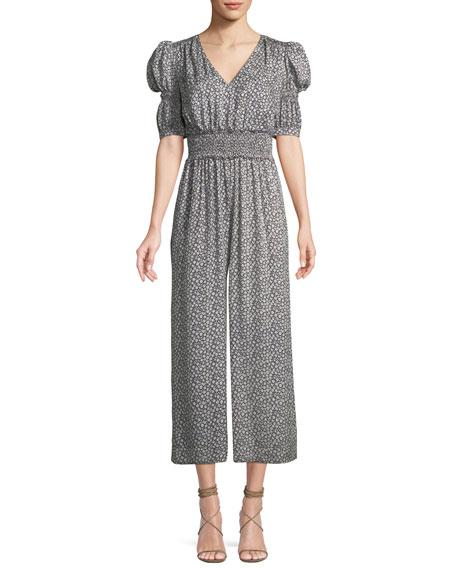 Lauren Puff-Sleeve Silk Floral Jumpsuit