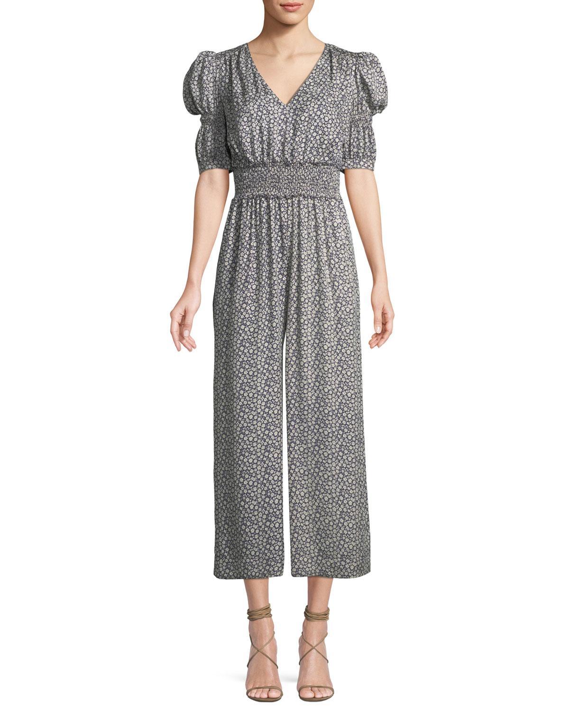 913f45c0ac Rebecca Taylor Lauren Puff-Sleeve Silk Floral Jumpsuit