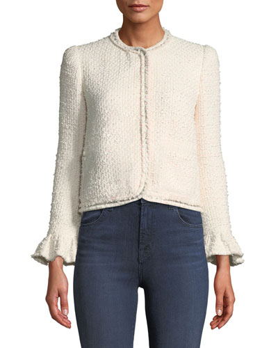 Snap-Front Tweed Jacket