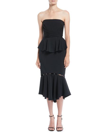 Jonathan Simkhai Stapled Crepe Flounce Midi Dress