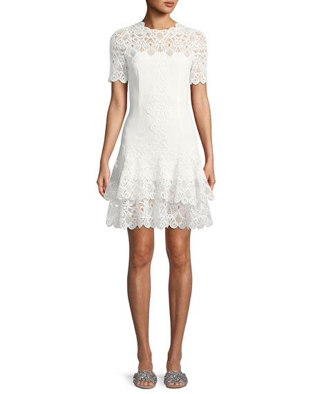 Jonathan Simkhai Lace Applique Mini Tee Dress