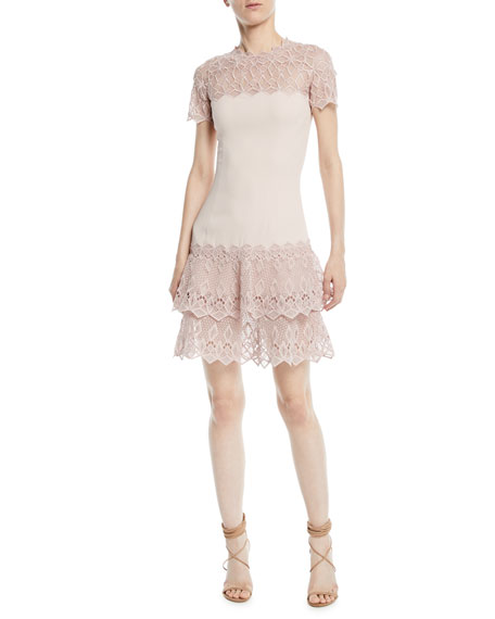 Jonathan Simkhai Diamond Crepe Applique Short-Sleeve Mini Dress