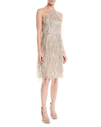 Sequin & Feather Halter Cocktail Dress