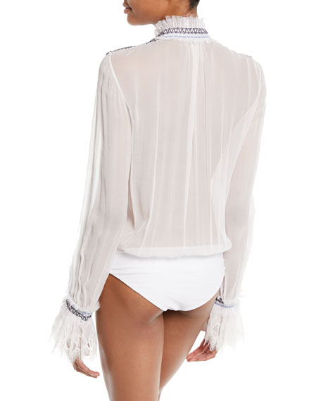 Smocked Silk Button-Front Bodysuit with Lace