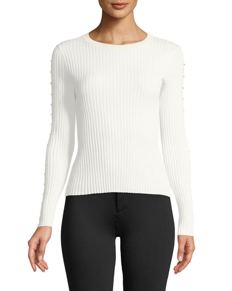 Jonathan Simkhai Ribbed Long-Sleeve Stapled Knit Top
