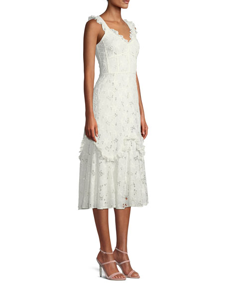 Adriana Eyelet Lace-Up Midi Dress