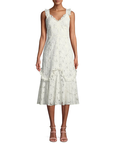Adriana Eyelet Lace-Up Midi Dress