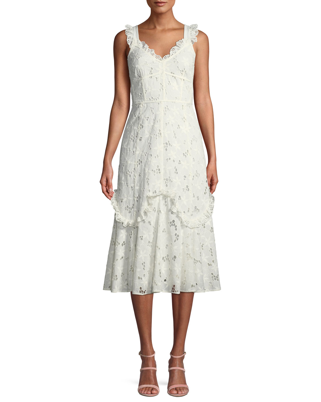 Rebecca Taylor Adriana Eyelet Lace-Up Midi Dress | Neiman Marcus