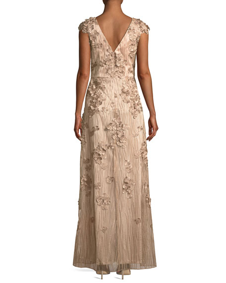 3D Floral Embroidered Gown