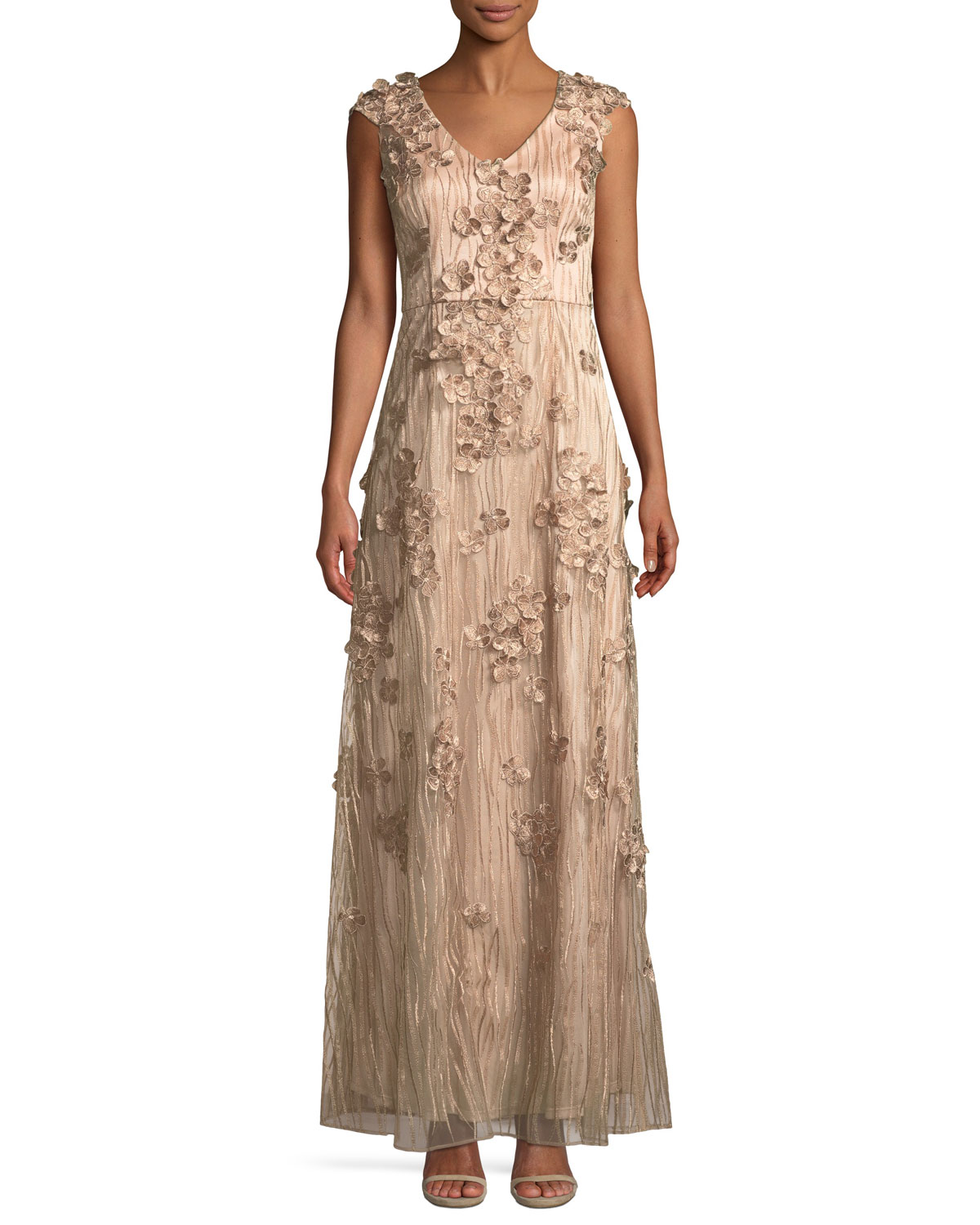David Meister 3D Floral Embroidered Gown | Neiman Marcus