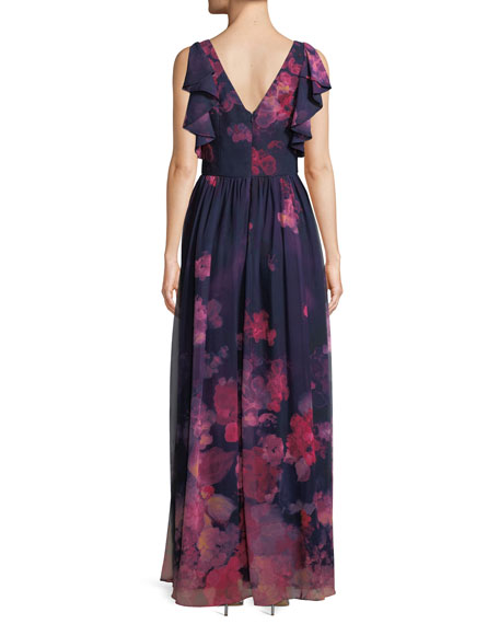 Floral Chiffon Dress w/ Ruffle Trim
