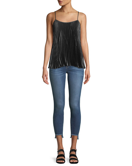 Side-Stripe Twisted-Seam Skinny Jeans
