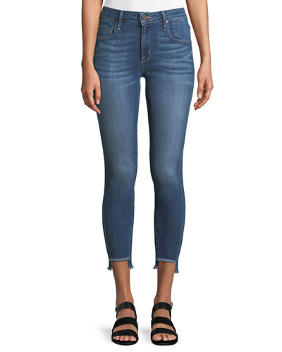 Side-Stripe Twisted-Seam Skinny Jeans