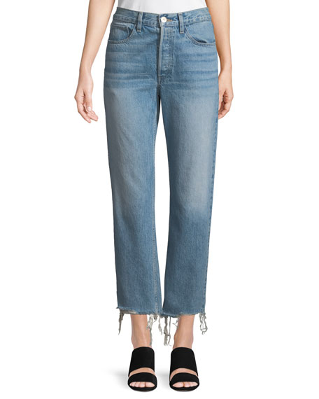 3x1 W3 Higher-Ground Straight-Leg Cropped Jeans w/ Distressed