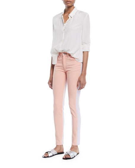 Two-Tone High-Rise Skinny Jeans