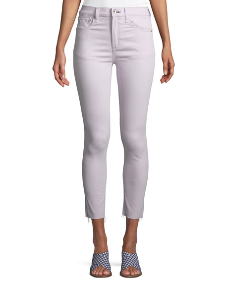 Raw-Edge High-Rise Ankle Skinny Jeans