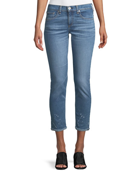 Dre Splattered Straight-Leg Ankle Jeans