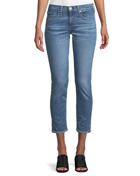 rag & bone/JEAN Dre Splattered Straight-Leg Ankle Jeans