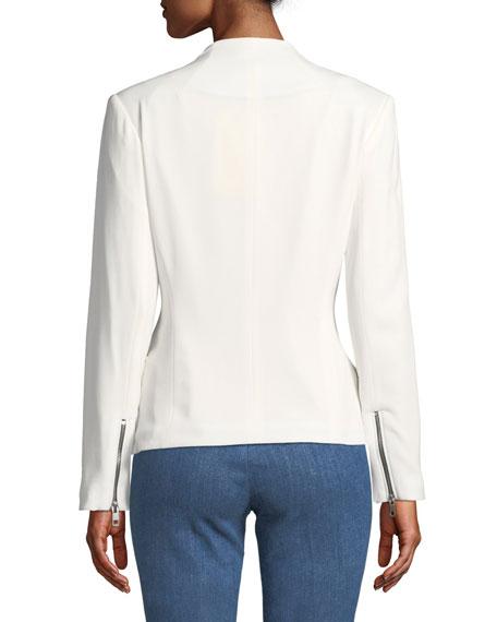 Victoria Hook-Front Crepe Blazer