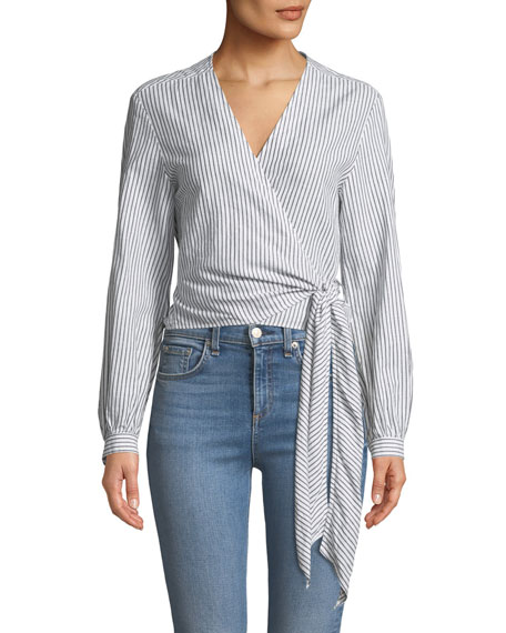 Prescot Striped Long-Sleeve Wrap Top