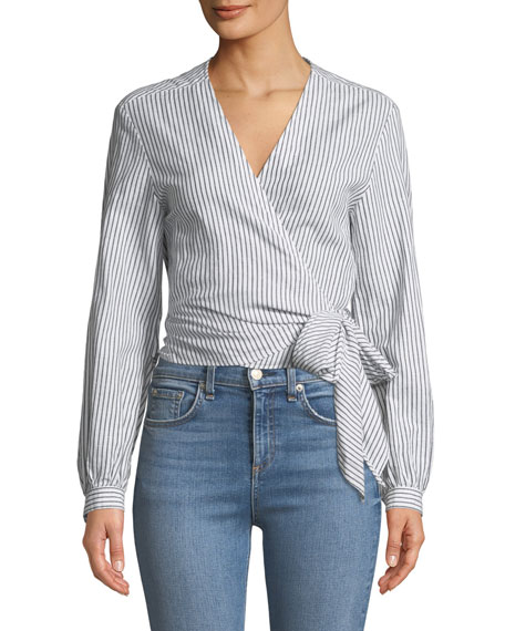 Prescot Striped Long-Sleeve Wrap Top