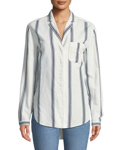 Alyse Button-Down Striped Cotton-Linen Shirt