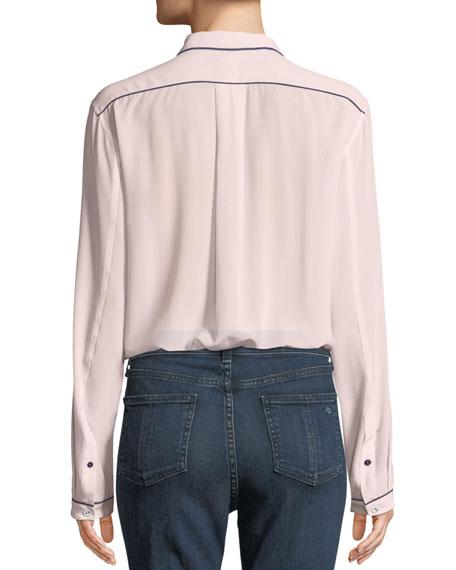 Alyse Long-Sleeve Silk Button-Down Shirt