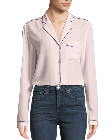 Alyse Long-Sleeve Silk Button-Down Shirt