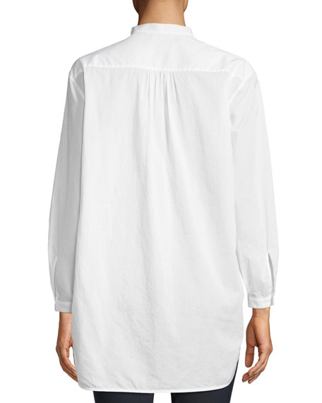 Miranda Surplice Long-Sleeve Cotton Voile Blouse