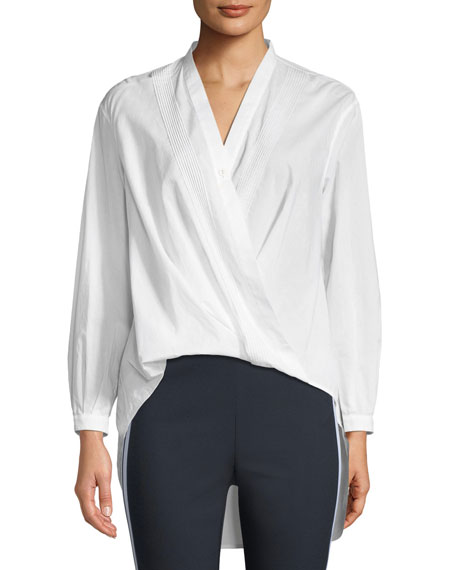 Rag & Bone Miranda Surplice Long-Sleeve Cotton Voile