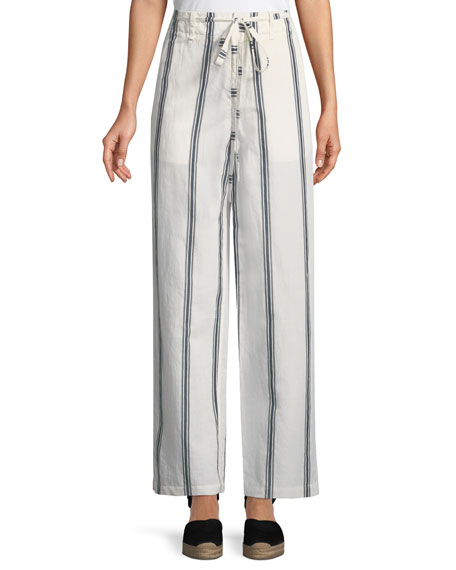Oasis High Waist Straight Leg Striped Cotton Linen Pants by Rag & Bone