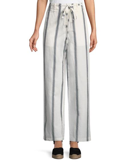 Oasis High-Waist Straight-Leg Striped Cotton-Linen Pants