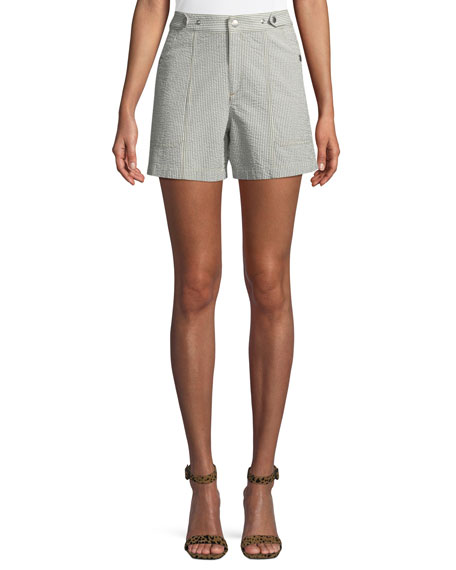 Steele Seersucker High-Rise Shorts