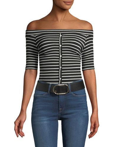 Off-the-Shoulder Button-Front Striped Tee