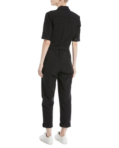 Short-Sleeve Button-Down Belted Straight-Leg Cotton-Linen Jumpsuit