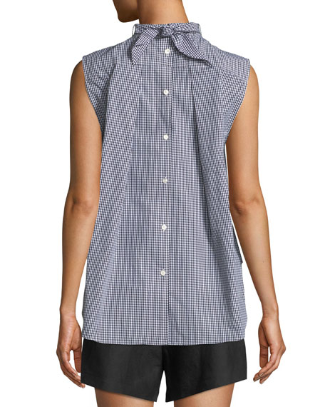 Mock-Neck Knotted Sleeveless Gingham Poplin Top