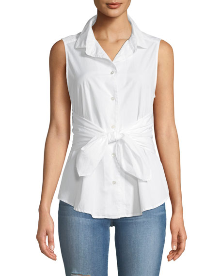 Sleeveless Button-Front Belted Poplin Top